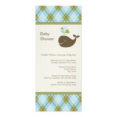 Baby Shower Invitation | Argyle Preppy Whale