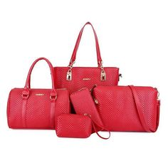 Embossed Braid 5 Piece Shoulder Bag Sets for Women Tote Purse, Tote Handbags, Crossbody Bag, Red Shoulder Bags, Shoulder Strap, Formal Casual, Crocodile Handbags, Pu Leather, Purses And Bags