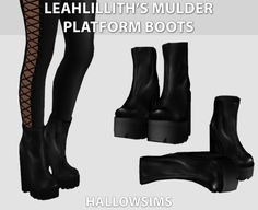 "hallowsims: "" LeahLillith's Mulder Platform Boots - Comes in 4 tones - Has Morphs. - All LOD's. - HD mod compatible - Mesh credits to LeahLillith. Download LeahLillith's Mulder Platform Boots So, we don't post anything on Sundays, so I though we..."