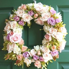Wedding, Flowers, Purple, Nicole ha - Photo by Nicole Ha Container Design, Diy Spring Wreath, Diy Wreath, How To Make Wreaths, Spring Flowers, Flower Arrangements, Beautiful Flowers, Floral Wreath, Rose