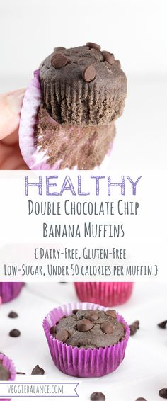 Healthy Double Chocolate Chip Banana Muffins {Gluten-Free, Dairy-Free, Under 50 calories per muffin!}