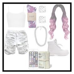 """""""HUF"""" by queen-miy ❤ liked on Polyvore featuring Timberland, Topshop, Asprey and NLY Accessories"""