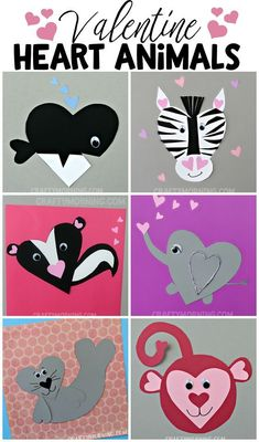 Heart shape valentine animal crafts for the kids to make on Valentines day! You can find an orca whale, zebra, elephant, skunk, seal, monkey, bear, and much much more!