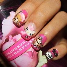 hello kitty nail design <3