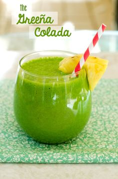 The Greeña Colada Smoothie 1 cup coconut milk (I used lite coconut milk) 1/2 cup coconut water 1 1/2 cups fresh ripe pineapple, chopped 3-4 cups of spinach Ice