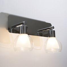 Applique 2 lumières pour salle de bain en métal et verre longueur 32cm Pearl Corep