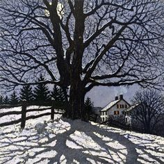 Winter Landscapes Clear Winter Night 7 Carol Collette Art is part of Winter art - Limited Edition Watercolor and Etching Image Size 7 Maine Winter Szenen, Clear Winter, Winter Night, Winter Moon, Winter Trees, Cold Night, Vermont Winter, Snowy Trees, Winter Landscape