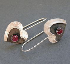 Sterling silver heart earrings with garnet by Kailajewellery