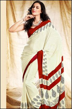 Traditional Party Saree; Cream Yellow and Carnelian Red Crepe Party and Casual Printed Saree