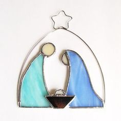 Nativity Ornament In Pale Blue And Aqua Stained Glass by Beth College #StainedGlassNativity