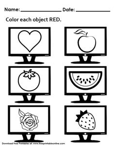 Color each object RED Preschool Worksheet Free Printable Worksheets, Kindergarten Worksheets, Printable Coloring Pages, Free Printables, Colouring Pics, Exercise For Kids, Lessons For Kids, Objects, Invitations