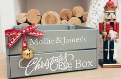 Personalised Christmas Eve crate Christmas by Littlelightstudios Wooden Christmas Eve Box, Its Christmas Eve, Christmas Hamper, Christmas Makes, Family Christmas, Beautiful Christmas, Christmas Eve Box Ideas Kids, Christmas Gift Box, Christmas Breakfast