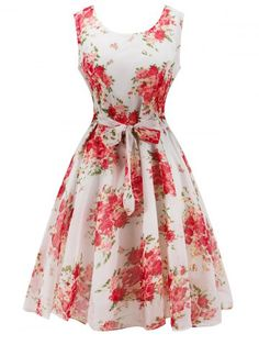 GET $50 NOW | Join RoseGal: Get YOUR $50 NOW!http://www.rosegal.com/vintage-dresses/retro-belted-high-waisted-flowers-707114.html?seid=8284437rg707114