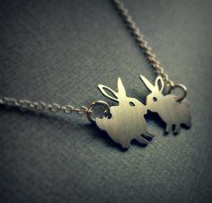 Silver rabbit necklace - bunny jewelry - kissing bunnies - dainty jewelry. $12.00, via Etsy.
