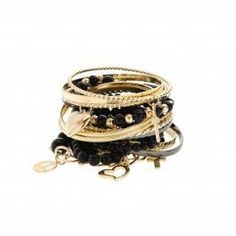 Join the 'arm party' brigade and pile on a multitude of pretty trinkets, cuffs, fine gold charms and forgotten treasures. Diva Gold & Black Mish Mash bangle stack available at Gold Bangle Bracelet, Gold Bangles, Gold Jewelry, Jewelry Box, Jewelery, Jewelry Accessories, Fashion Accessories, Couture Accessories, Jewelry Bracelets