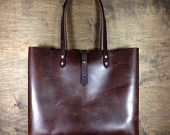Brown Horween Leather Tote with Inside Pocket
