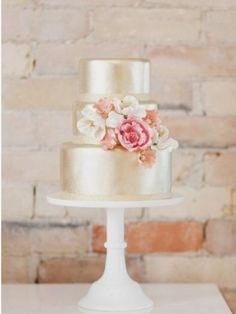 Beautiful blush and gold cake