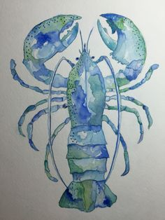 Watercolor lobster by Lynn Egigian