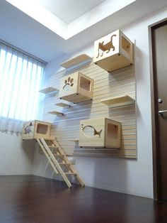 Image 14 of 16 from gallery of Modern Cat Furniture Ideas That You Will Fall In Love With. Modular ideas of cat climbing wall and bed boxes with plywood material Animal Room, Animal House, Cat Climbing Wall, Cat Towers, Cat Shelves, Cat Playground, Playground Ideas, Playground Design, Cat Room