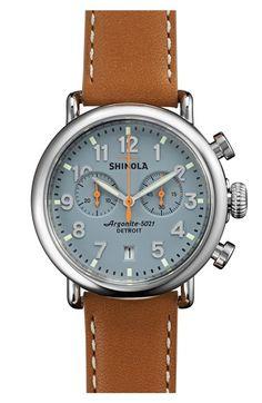 Shinola 'The Runwell Chrono' Leather Strap Watch, 41mm stunning watch