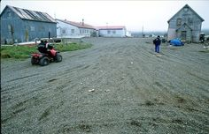 Street in the rural village of Gambell on St. Lawrence Island, Alaska.