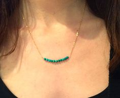 Turquoise beaded bar necklace- 14k gold filled necklace by ZYLCollections on Etsy