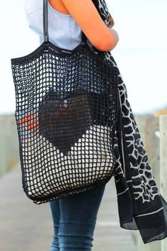 CROCHET TOTE BAG with Shoulder Handles  de White Sheep por DaWanda.com