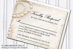 Pearls & Lace RSVP,   Glamorous, Glam Themed Wedding, DIY BRIDE, PRINTABLE Card Design by H20WhiteLacePromises
