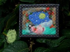 Sleeping Beauty Under A Magical Spell. Fairy Tale Wool Picture ready to hang. Handmade by Castle of Costa Mesa