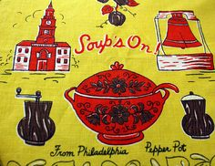 "Vintage Philadelphia Pepper Pot ""Soup's On!"" Souvenir Tea Towel (E4060) on Etsy, $10.99"