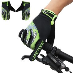 Shockproof Cycling Bike Bicycle MTB Motorcycle Sports Full Finger Gel Pad Gloves #Unbranded