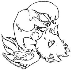 Elegant Winged Wolf Cub   Lineart By Little Kitsune