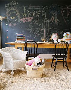 Image result for playroom with chalkboard and map