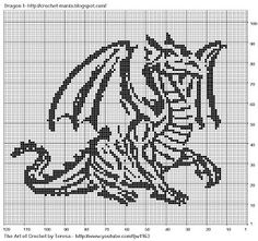 Free Filet Crochet Alphabet Charts | Free Filet Crochet Charts and Patterns: Filet Crochet Dragon 1