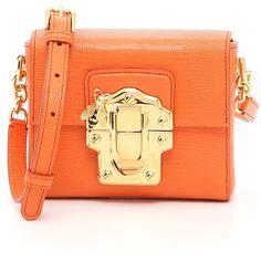 Lucia Mini Bag ($1,057) ❤ liked on Polyvore featuring bags, handbags, shoulder bags, womenbags, orange handbags, genuine leather handbags, leather purses, real leather shoulder bags and orange purse