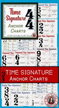 **There are ELEVEN Time Signature Charts - both Simple and Compound Time! Music Lessons For Kids, Piano Lessons, Drum Lessons, Guitar Lessons, Music Classroom, Classroom Resources, Physics Classroom, Classroom Ideas, Music Worksheets