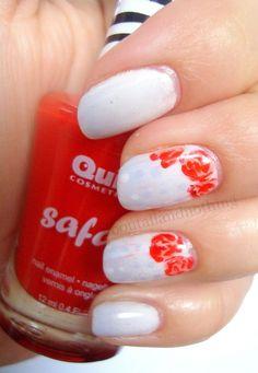 Pomysł na proste zdobienie: róże | Idea for simple manicure: Roses | Nai...