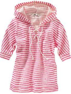 Women's Striped Lace-Up Hooded Tops | Old Navy
