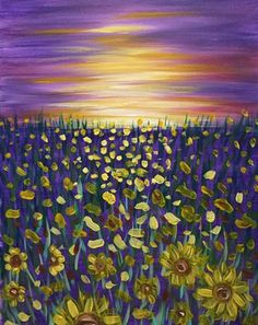 The sun breaks through the clouds to wake the sunflowers from their slumber. Celebrate the beginning of a new day with this warm and sunny painting!  Enjoy a glass of your favorite local wine while we lead you step-by-step in creating this beautiful painting!