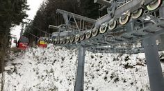 Cable car equipment in a mountain resort Poiana Brasov, Romania.