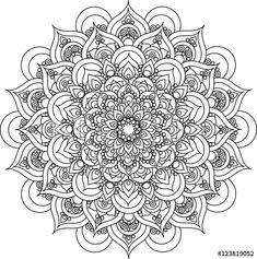 Beautiful ornate vintage vector mandala illustration for anti stress coloring books