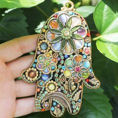 Burst of Floral Wall Hamsa by MichalGolanJewelry on Etsy