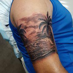Beach Tattoo on Arm