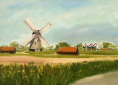 Windmill and flags Dutch landscape outdoor by NancyvandenBoom, €165.00