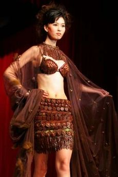 A chocolate dress presented during China's first Chocolate Fashion Show as part of Salon Du Chocolat in Beijing in 2005.