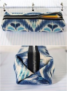 DIY Easy Pencil Case/Pouch (with clear photo tutorial on sewing zippers) Pencil Case Pattern, Pencil Case Tutorial, Zipper Pencil Case, Diy Pencil Case, Leather Pencil Case, Pencil Pouch, Diy Bags For School, Diy Back To School, School Ideas