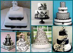 Os bolos de casamento em Branco e Preto combinam com as mais diversas palhetas de cores e ficam bem elegantes, seguindo o padrão floral ou de renda.