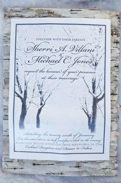 Winter Wonderland themed Winter Wedding - invitations using birch bark (image by Jan Michele Photography)