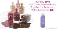 Nail art is all about the freedom to create stunning designs again and again. Right now, get a 1 oz. Zoya Remove+ when you purchase any Zoya Fall Collection polish at www.MiBellaReina.com
