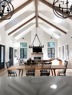 Faux beams Get the look of real ceiling beams for a fraction of the price The cathedral ceiling feature beams and shiplap Faux beam Faux beams Faux ceiling beams Farmhouse Interior, Modern Farmhouse, Farmhouse Kitchens, Modern Rustic, Craftsman Kitchen, Farmhouse Ideas, Country Farmhouse, Farmhouse Decor, Build Your Own House